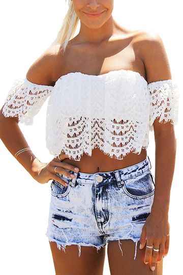 Yoins Cropped Off The Shoulder Top In Lace