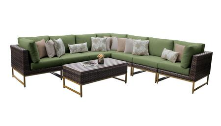 Barcelona BARCELONA-08a-GLD-CILANTRO 8-Piece Patio Set 08a with 3 Corner Chairs  4 Armless Chairs and 1 Coffee Table - Beige and Cilantro Covers with