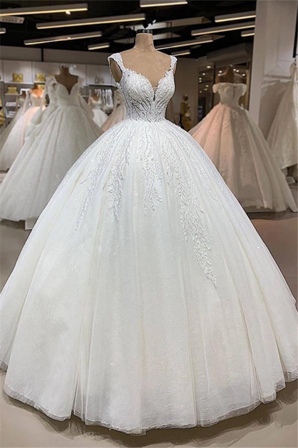 Elegant V-Neck Sleeveless Ball Gowns | Shimmery Strap Bridal Wedding Dress