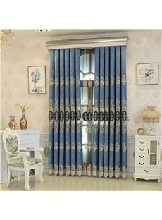 European Style Exquisite Embroidery Blue High Quality Custom Curtain Panels