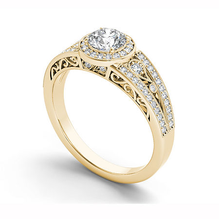 Womens 1 CT. T.W. Genuine White Diamond 14K Gold Halo Engagement Ring, 6 1/2 , No Color Family