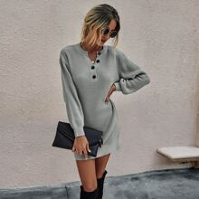 Buttoned Notched Neck Drop Shoulder Sweater Dress