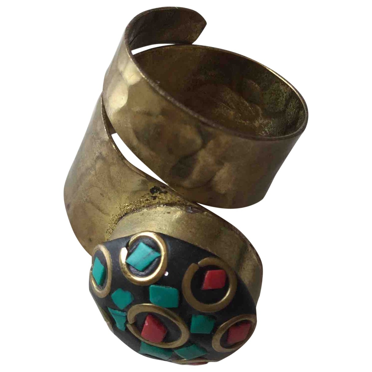 Non Signe / Unsigned Motifs Ethniques Ring in  Bunt Metall