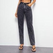 Jeans mit hoher Taille und geradem Beinschnitt ohne Guertel