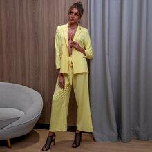 D&M Double Button Blazer & Belted Pants Set