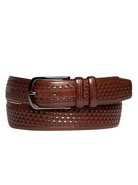 Mezlan Brand Men's Genuine Calfskin Brown Skin Belt