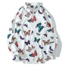 Guys Allover Butterfly Print Pocket Front Shirt