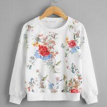 Girls Drop Shoulder Floral Print Pullover