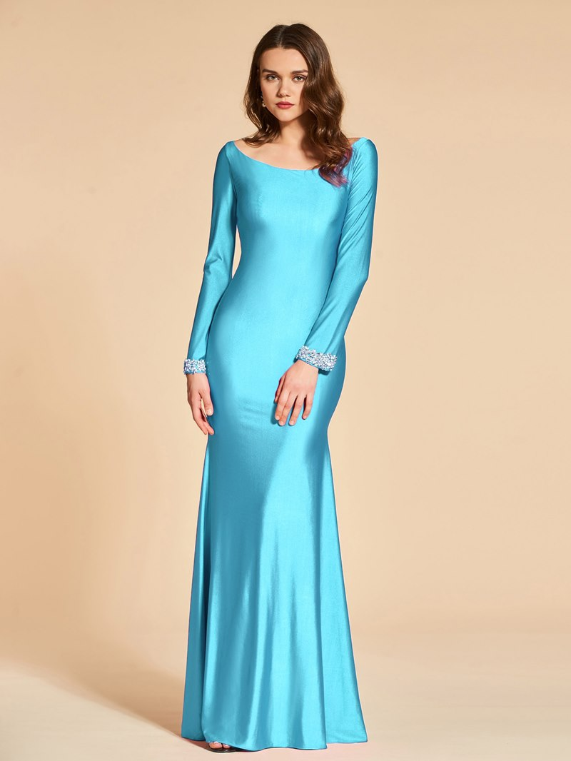 Ericdress Mermaid Bateau Neck Beaded Long Sleeve Evening Dress