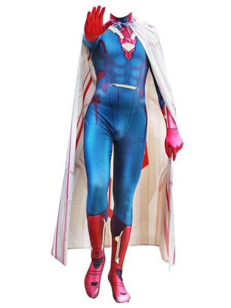 Milanoo Halloween Carnaval Marvel Comics Cosplay Capitan America Vision Cosplay Personalizado