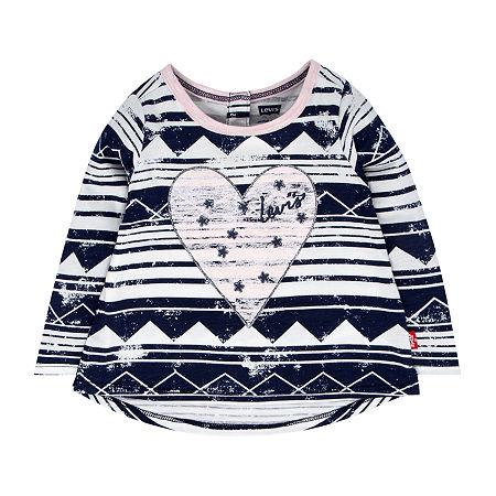 Levi's Baby Girls Long Sleeve Embellished T-Shirt, 6-9 Months , Blue