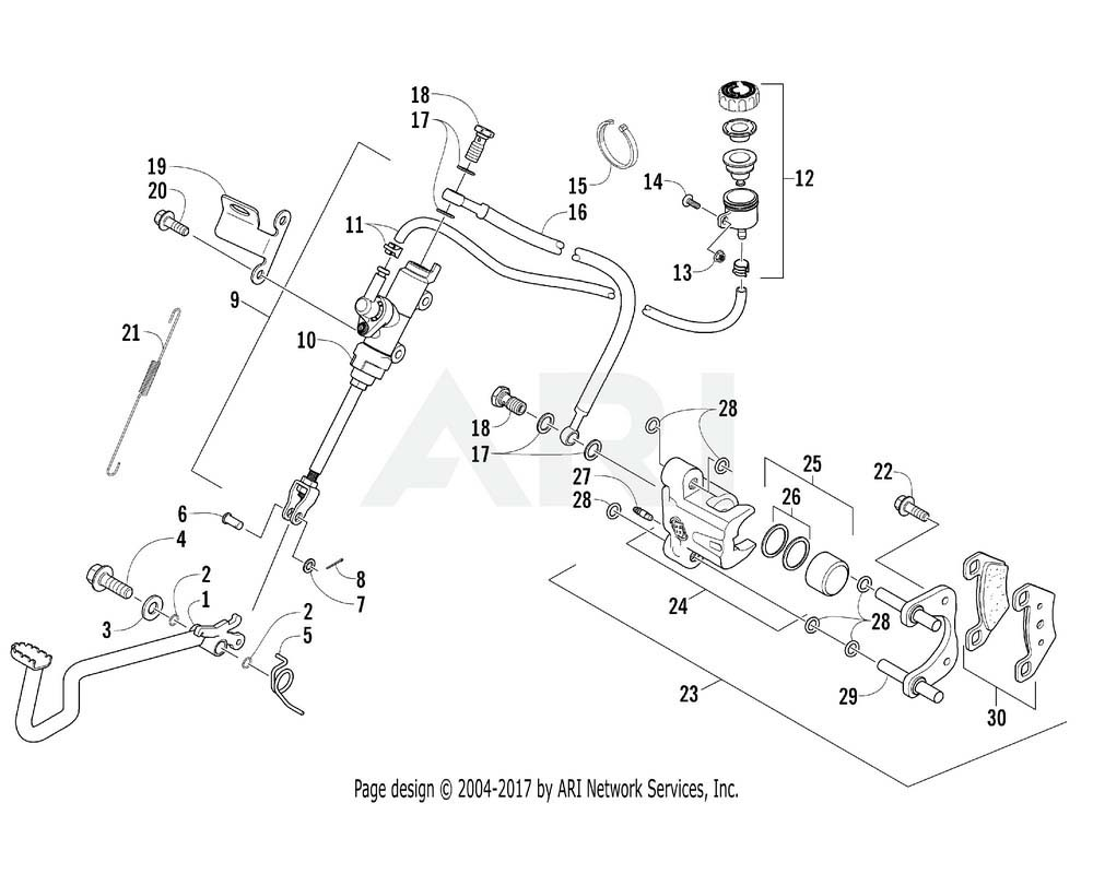 Arctic Cat OEM 0502-881 Master Cylinder Rear w/Reservoir Assembly | (Inc. 10 12)