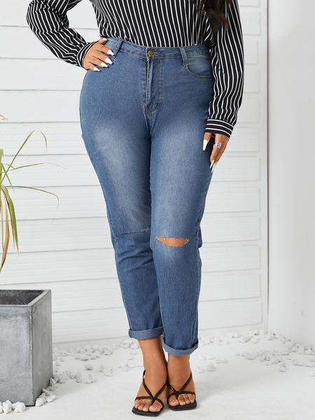 Yoins Plus Size Pocket Design Cut Out Jeans