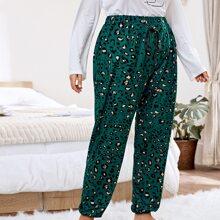 Pantalones de pijama con cordon delantero de leopardo