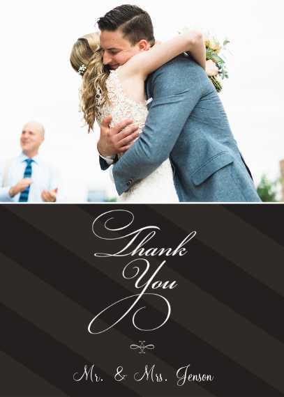 Wedding Thank You Mail-for-Me Premium 5x7 Folded Card , Card & Stationery -Flourishes and Stripes - Thanks