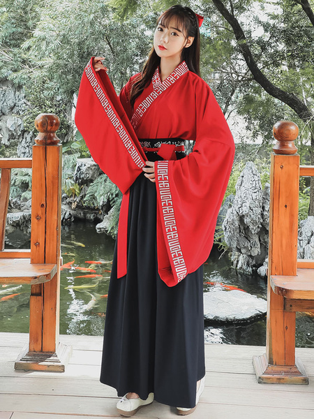Milanoo Ancient Chinese Costume Hanfu Traditional Red Women Outfit Halloween