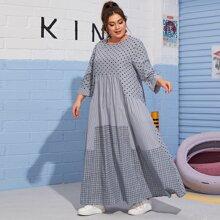 Grosse Grossen - Maxi Kleid mit vermischtem Muster