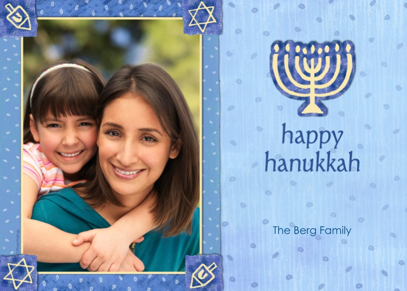 Hanukkah Photo Cards 5x7 Cards, Premium Cardstock 120lb with Rounded Corners, Card & Stationery -Blue & Gold Menorah