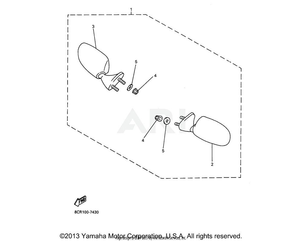 Yamaha OEM 4SV-26280-00-00 REAR VIEW MIRROR ASSY (LEFT)