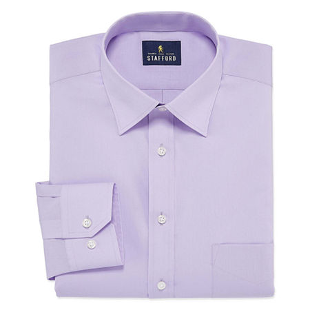 Stafford Travel Easy-Care Stretch Broadcloth Big And Tall Mens Point Collar Long Sleeve Wrinkle Free Stretch Dress Shirt, 18 38-39, Purple