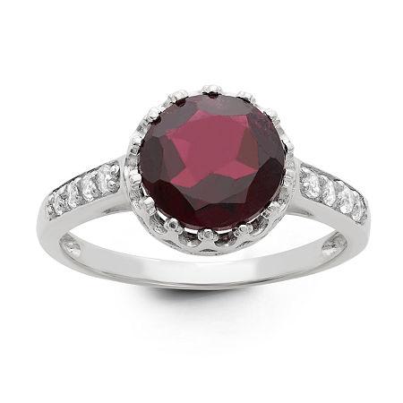 Genuine Garnet Sterling Silver Ring, 11 , No Color Family