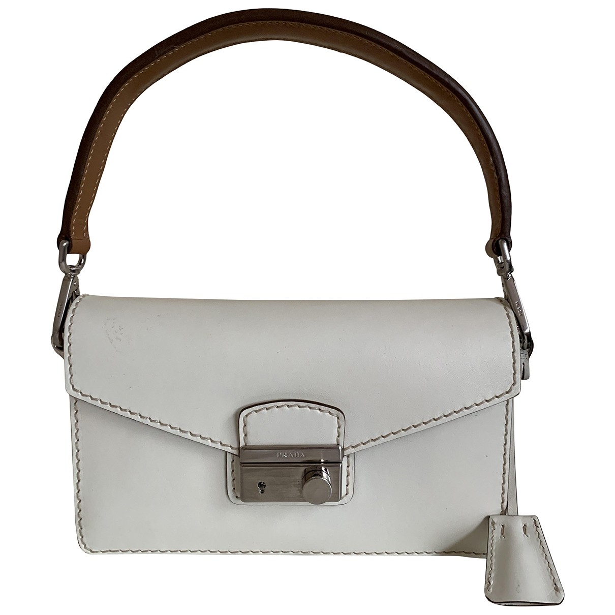 Prada \N Handtasche in  Ecru Leder