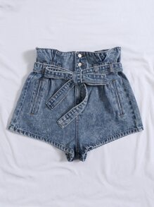 High Waist Button Fly Belted Denim Shorts