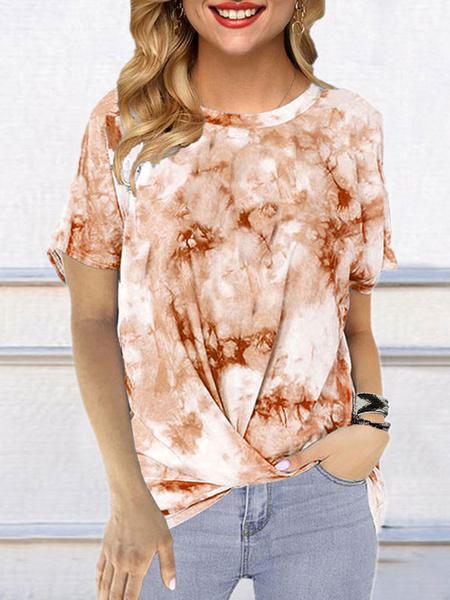 Milanoo Short Sleeves Tees Tie Dye Jewel Neck Women T Shirt