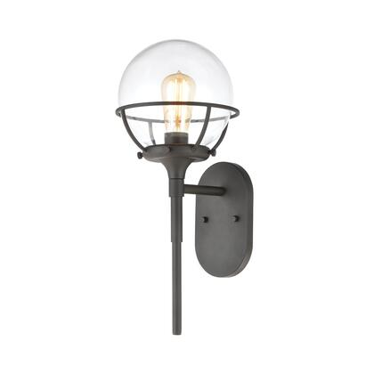 57289/1 Girard 1-Light Sconce in Charcoal with Clear