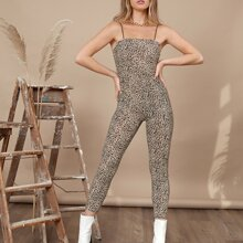 Leopard Form Fitted Jumpsuit