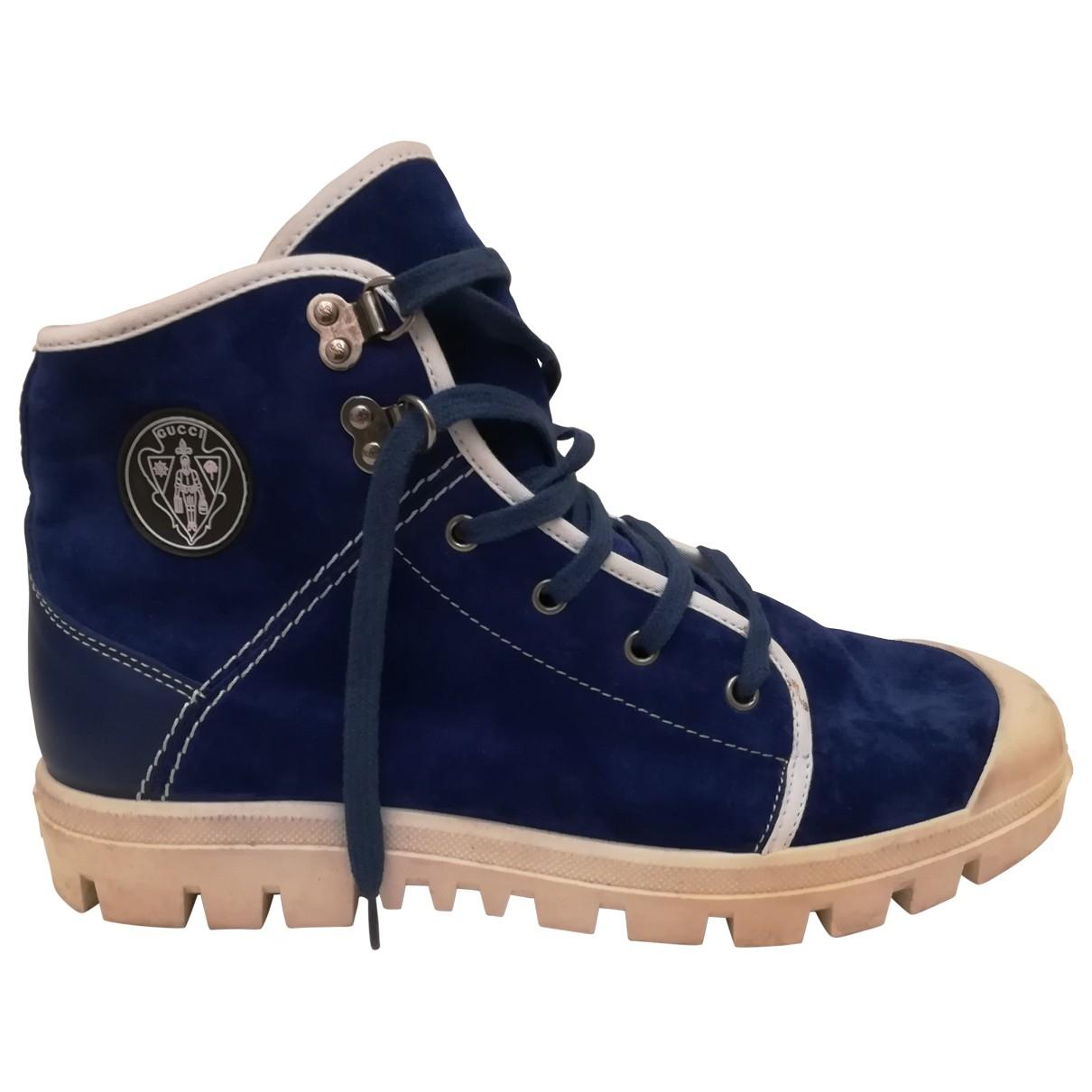 Gucci \N Stiefel in  Blau Veloursleder