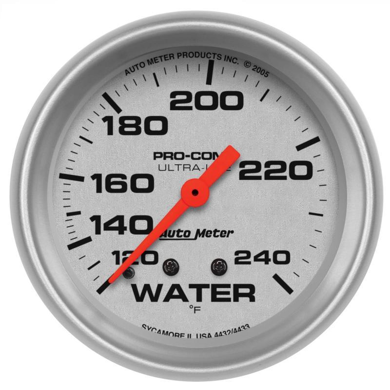 AutoMeter GAUGE; WATER TEMP; 2 5/8in.; 120-240deg.F; MECHANICAL; ULTRA-LITE
