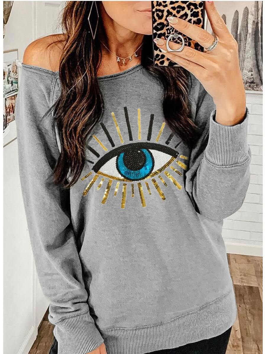LW Lovely Eye Printed Grey Sweatshirt