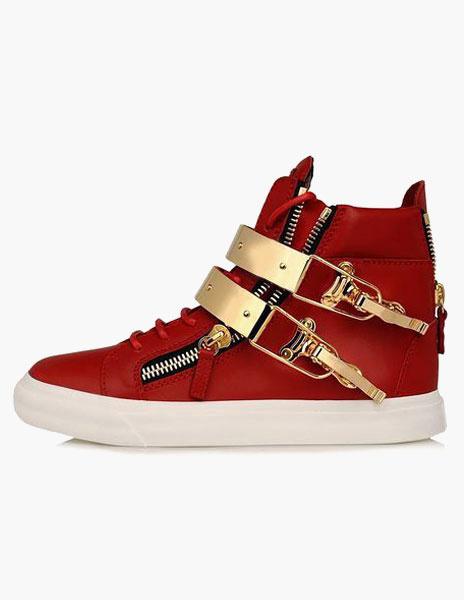 Milanoo Zapatos de cuero con cremallera