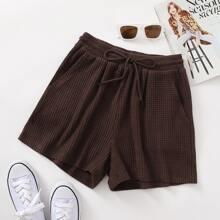 Drawstring Waist Slant Pocket Shorts