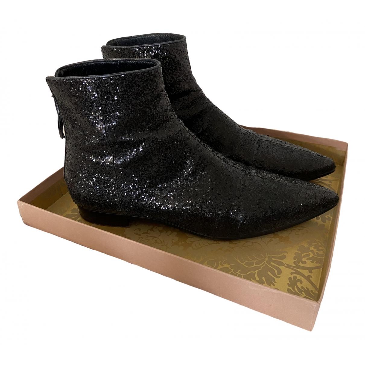 Miu Miu \N Black Glitter Ankle boots for Women 40 EU