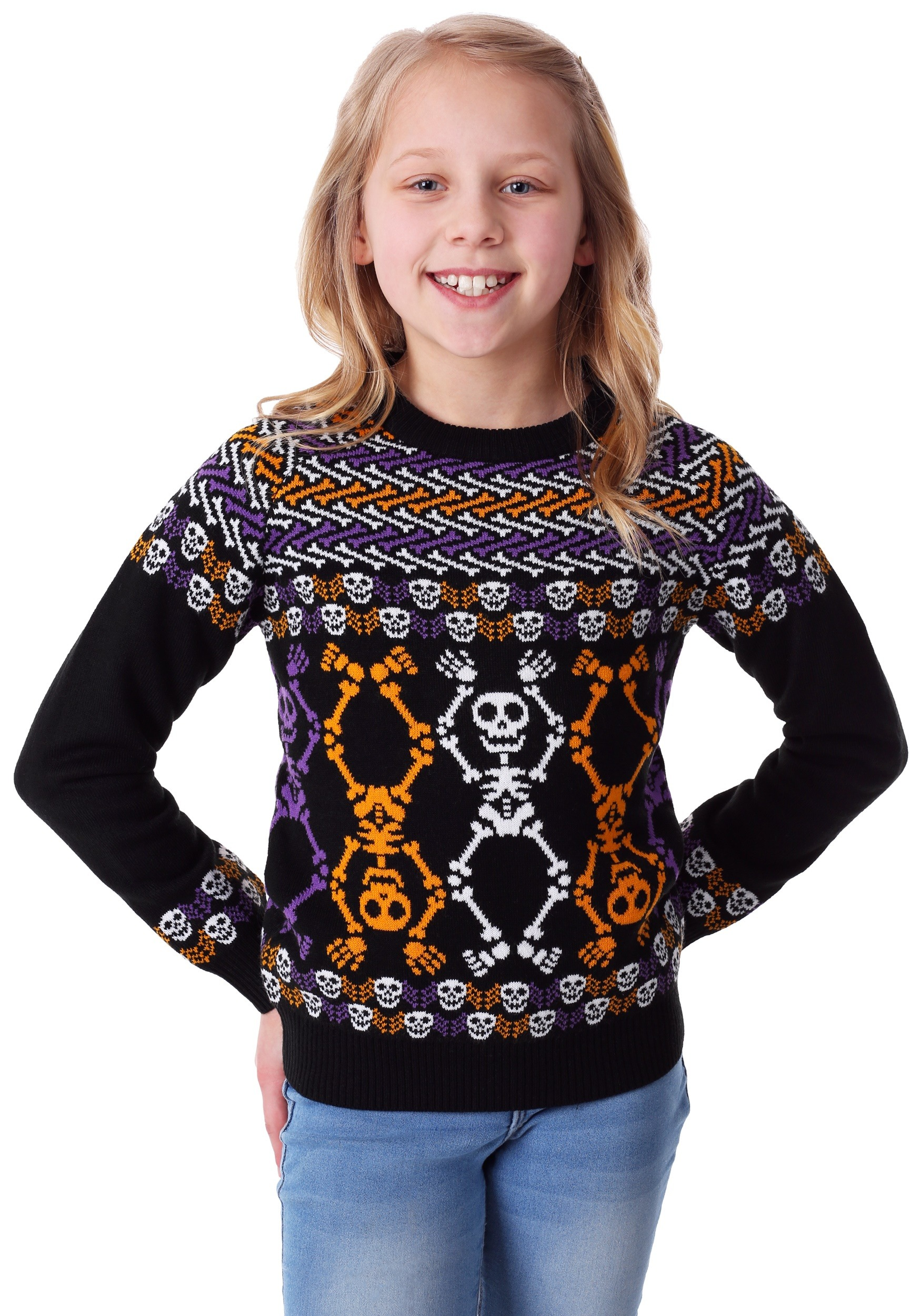 Kids Day of the Dead Dancing Skeletons Ugly Halloween Sweater