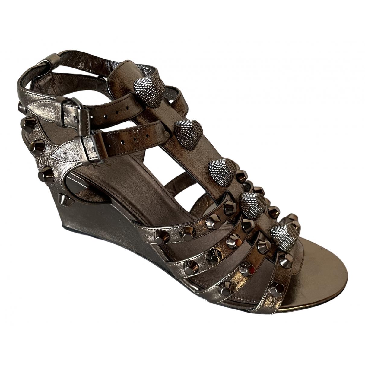 Balenciaga - Sandales   pour femme en cuir - metallise