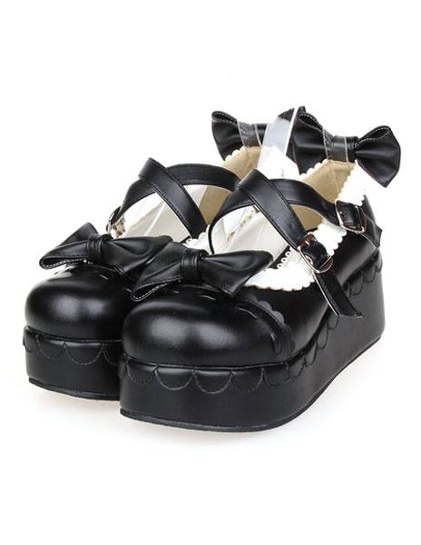 Milanoo Bows Decor Platform Lolita Shoes