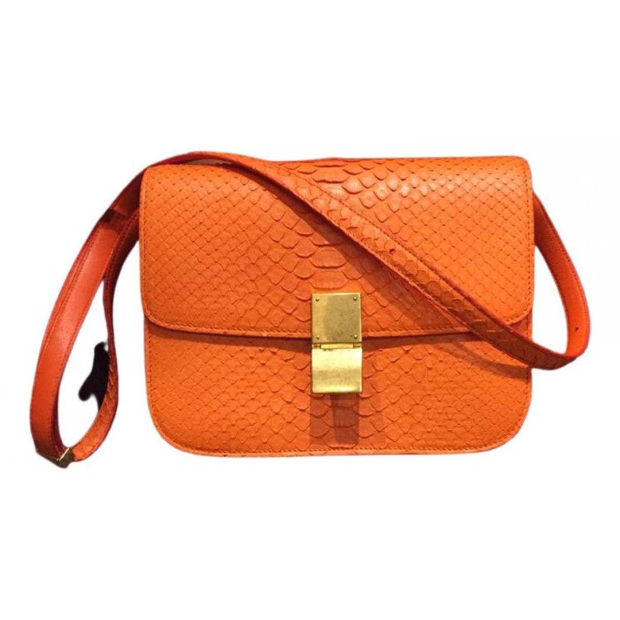Celine Classic Handtasche in  Orange Python