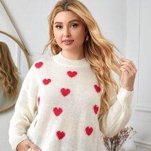 Plus Heart Pattern Drop Shoulder Sweater