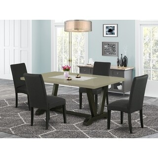 East West Furniture Dining Set Included Parson Chair and Rectangular Cement Table-Wirebrushed Black Finish-DR124 (72 - Black)