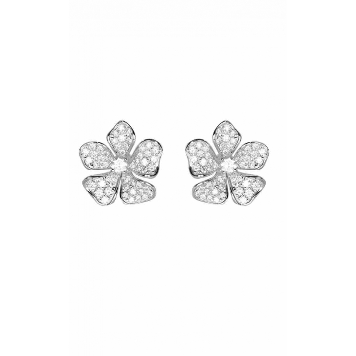 - Boucles doreilles Motifs Floraux pour femme en or blanc - argente
