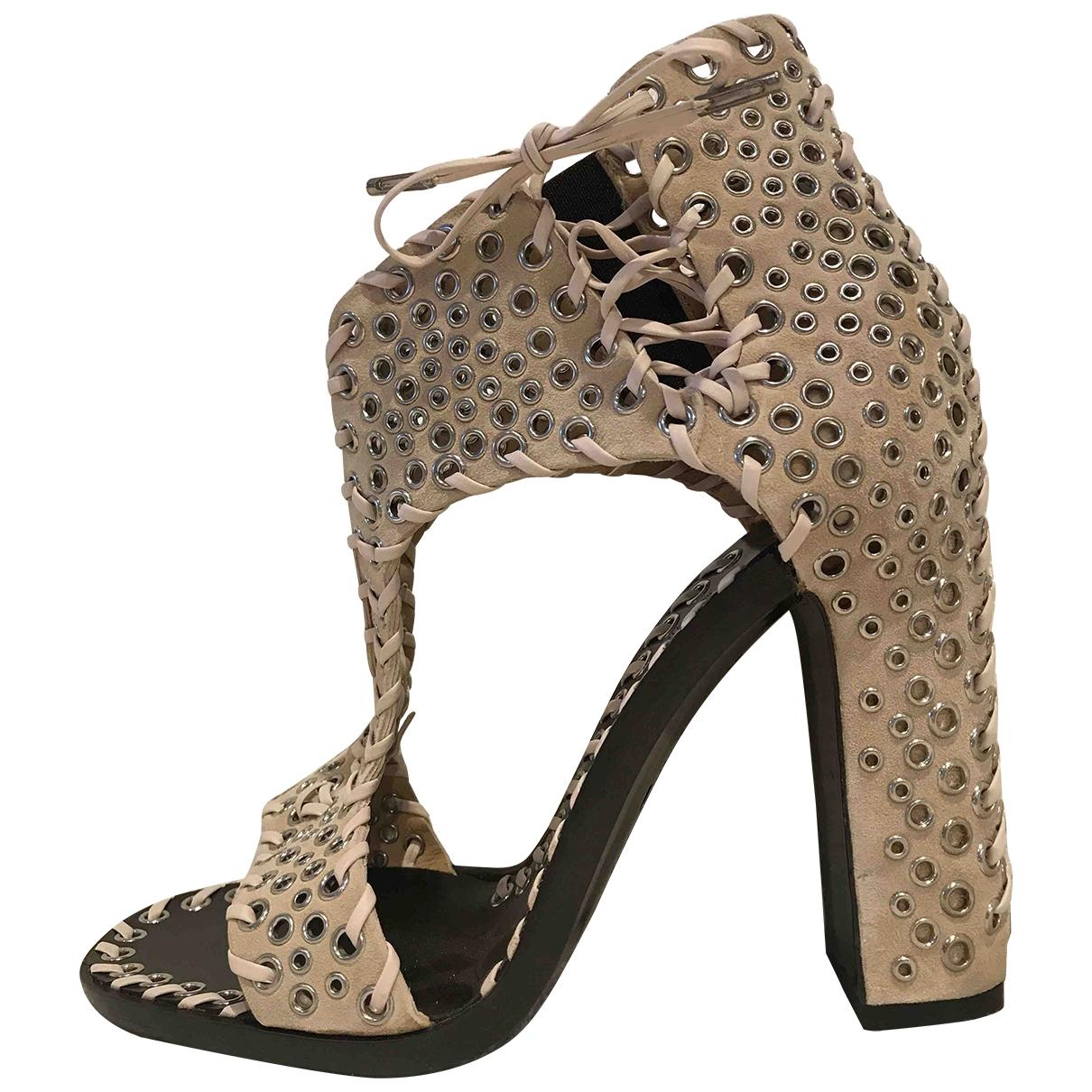 Salvatore Ferragamo \N Beige Suede Sandals for Women 37.5 EU