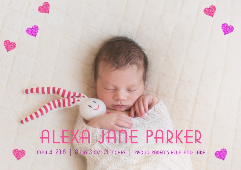 Newborn 5x7 Cards, Premium Cardstock 120lb, Card & Stationery -Pink Glitter Hearts by Posh Paper