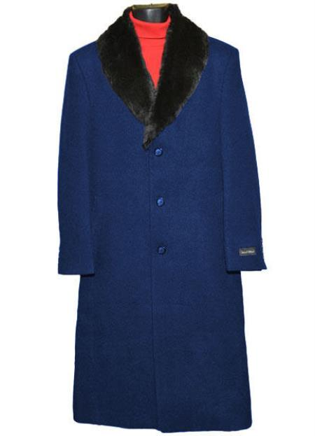 Men's Fur Collar Single Breasted 3 Button Wool Full Length Overcoat