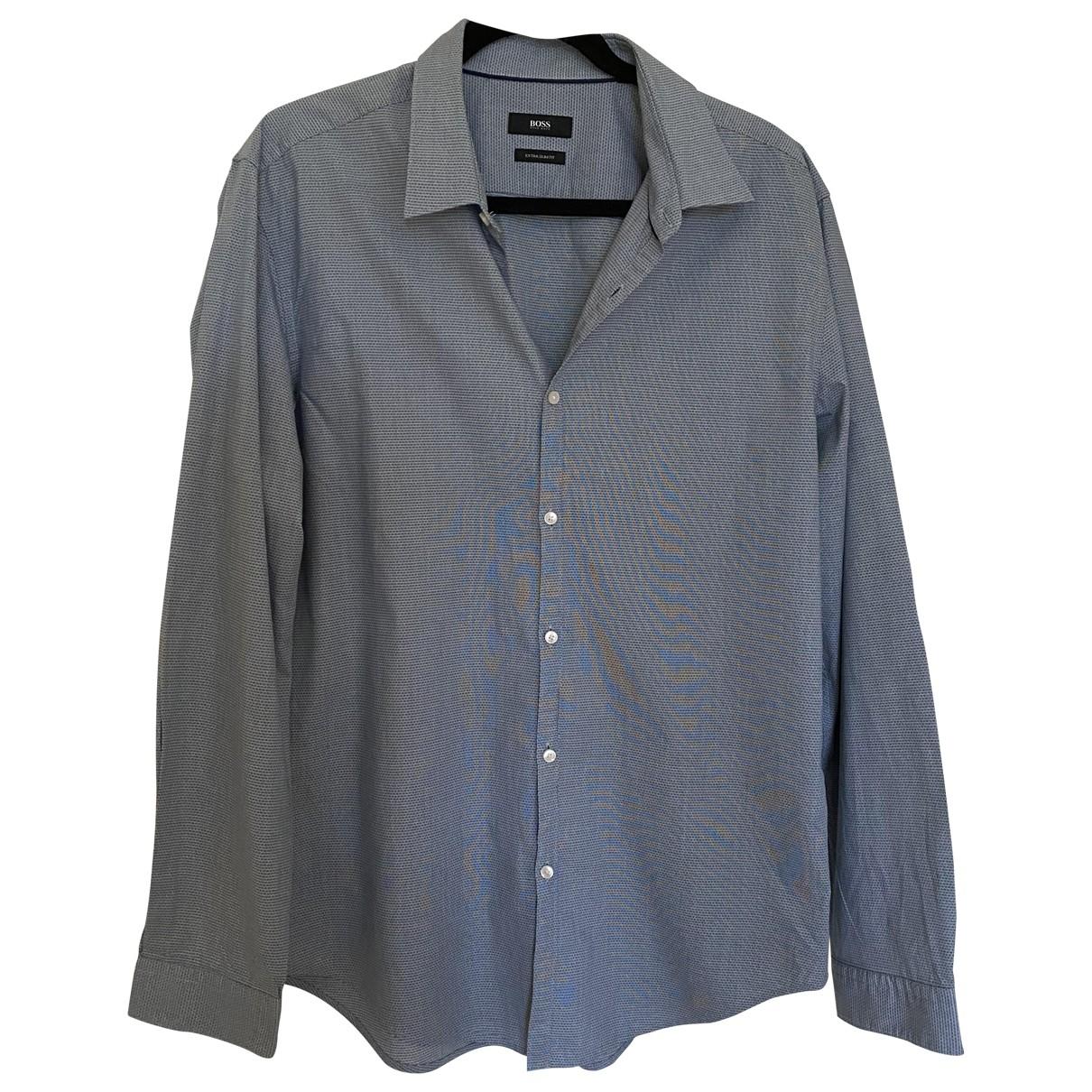 Boss - Chemises   pour homme en coton - bleu