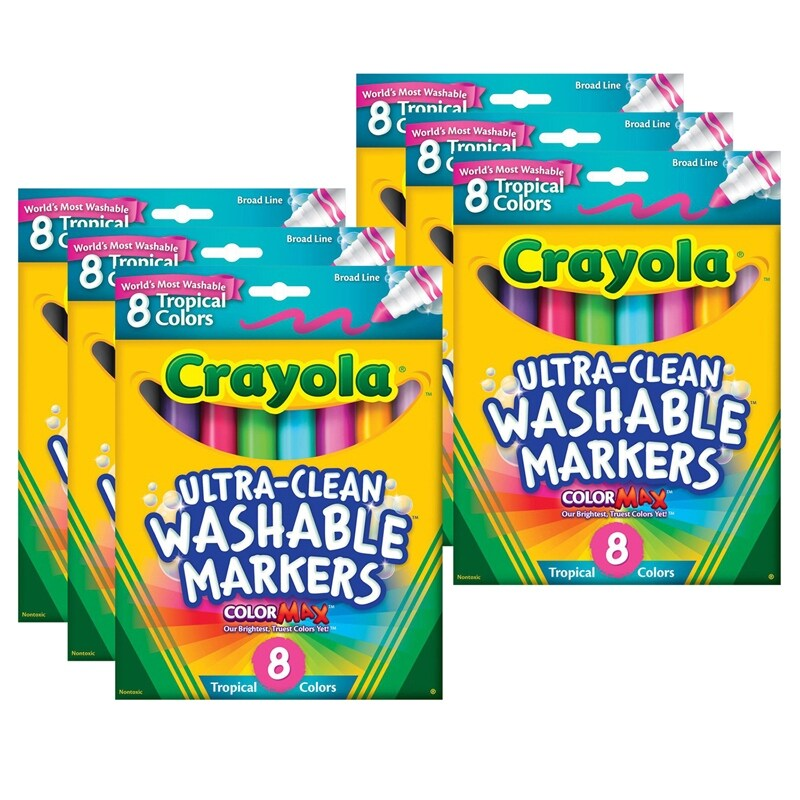 ColorMAX™ Ultra-Clean Washable Markers, Broad Line, Tropical Colors, 8 Per Box, 6 Boxes - Pictured (Pictured)