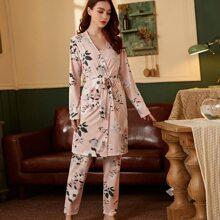 Schlafanzug Set mit Blumen Muster und Selbstband