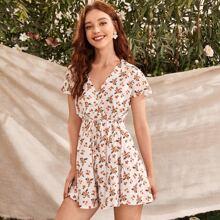 Ditsy Floral Self-Tie Mini Dress